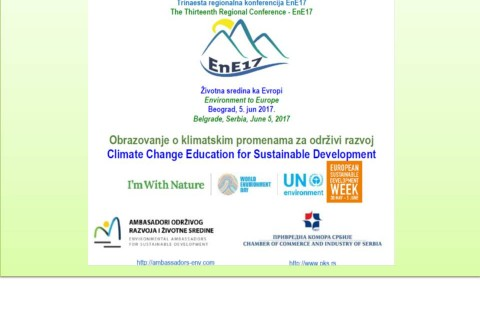 Draft Agenda for Environment to Europe EnE17 Conference (Climate Change Education for Sustainable Development), June 5, 2017, Belgrade