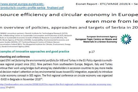 """AOR aktivnosti uključene u Izveštaj EEA """"Efikasnost resursa i kružna ekonomija u Evropi 2019. – još više od manje"""" Pregled politika, pristupa i ciljeva, za Srbiju"""