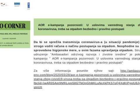 AOR e-kampanja pozornosti evidentirana u prvom broju biltena ECO CORNER