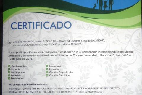 Saradnja među regionima: učestvujemo po pozivu na 10. Međunarodnoj konvenciji o životnoj sredini i razvoju, Havana, Kuba, juli 2015.