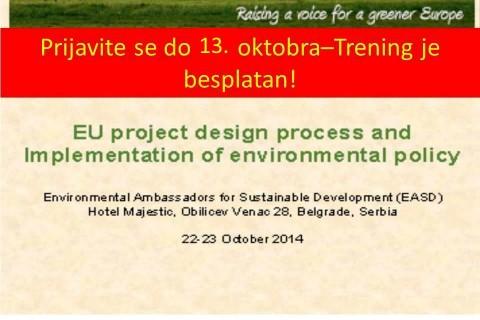 """Poziv za učešće na ENV.net treningu: """"Pristup sredstvima iz EU fondova i implementacija politike zaštite životne sredine'"""