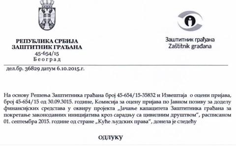 Jačanje kapaciteta Zaštitnika građana za pokretanje zakondavnih incijativa kroz saradnju sa civilnim društvom